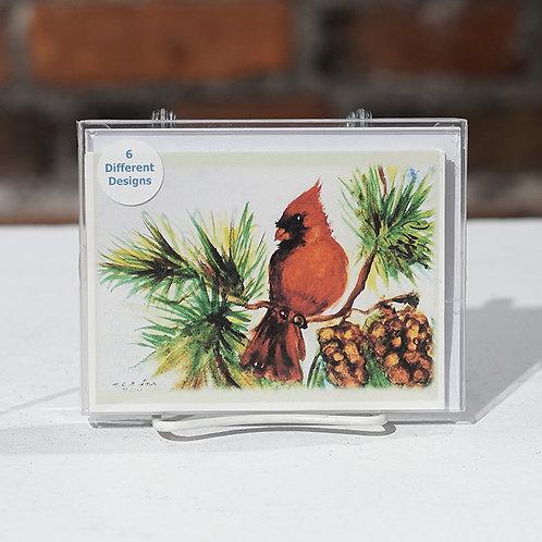 """Holiday Birds"" set C notecard set"