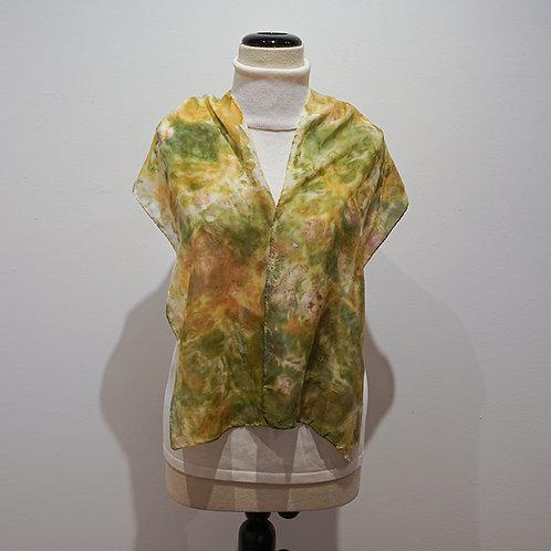 Gold/green silk scarf