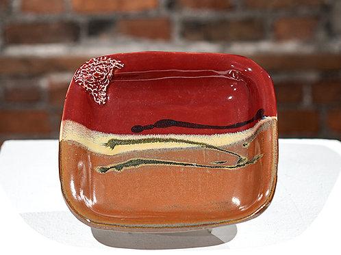 Square maroon bowl