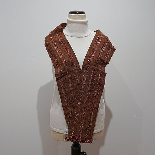 Brown ribbon/yarn scarf