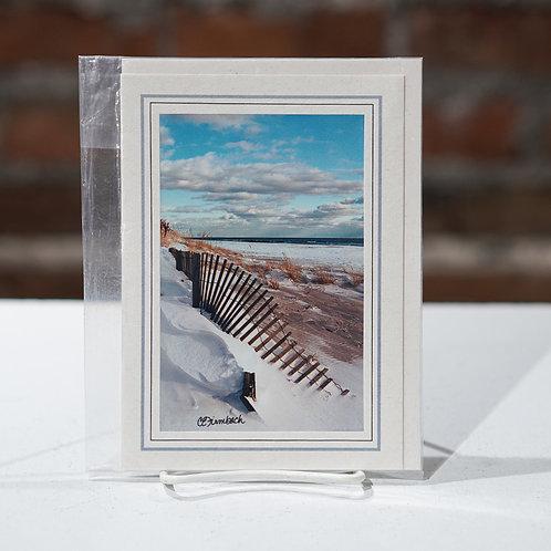 """Snowy Sand dune"" greeting card"