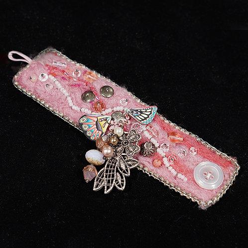 """""""Butterfly"""" Fabric/Beaded Bracelet"""
