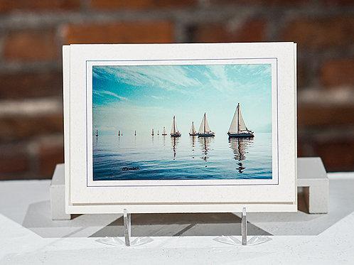 """""""Sailboats"""" notecard w/gift bag"""
