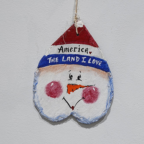 """""""Patriotic Snowman"""" slate plaque"""