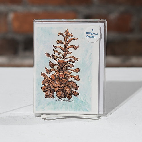 """Pinecones and Red Berries"" notecard set"