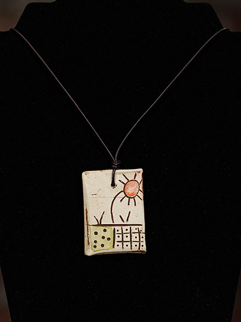 """Sunflower"" Ceramic necklace"