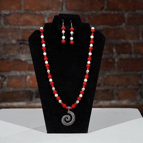 Red/White Swirl jewelry set
