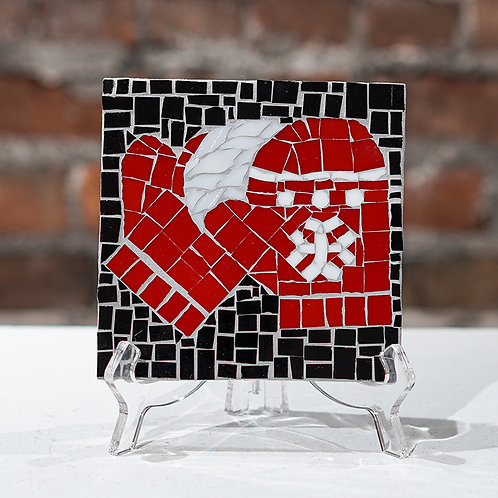 """""""Red Mittens"""" glass mosaic"""