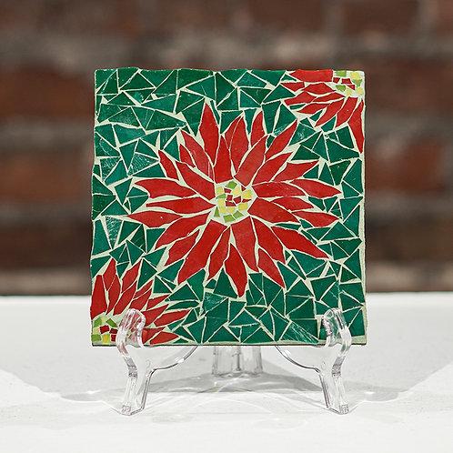 """Pointsettias"" glass mosaic"