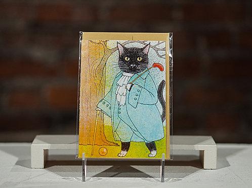 Cat Gentleman greeting card