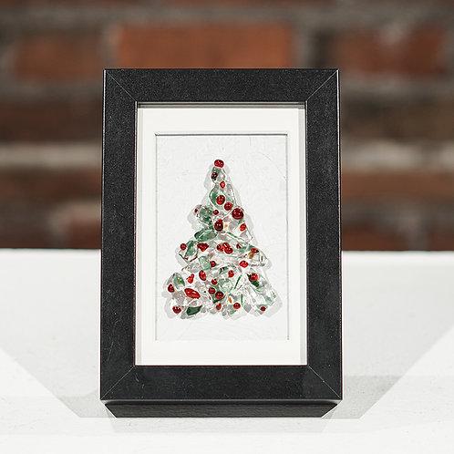 Holly Christmas tree desk top frame