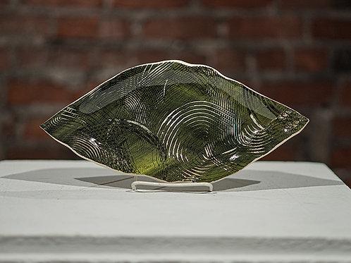 Green dish w/swirls