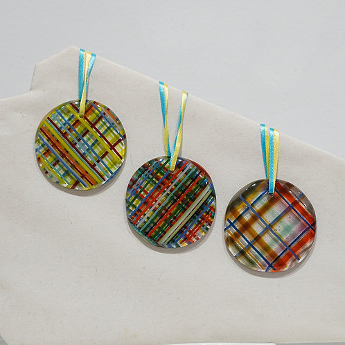 Plaid glass Holiday ornament
