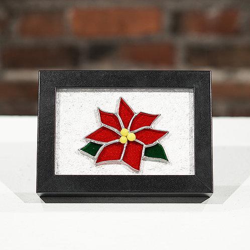Red Poinsettia desk top frame