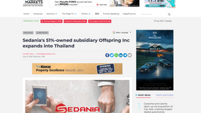 Sedania's 51%-owned subsidiary Offspring Inc expands into Thailand