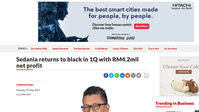Sedania returns to black in 1Q with RM4.2mil net profit