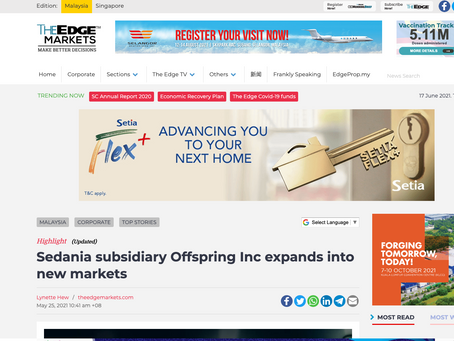 Sedania subsidiary Offspring Inc expands into new markets