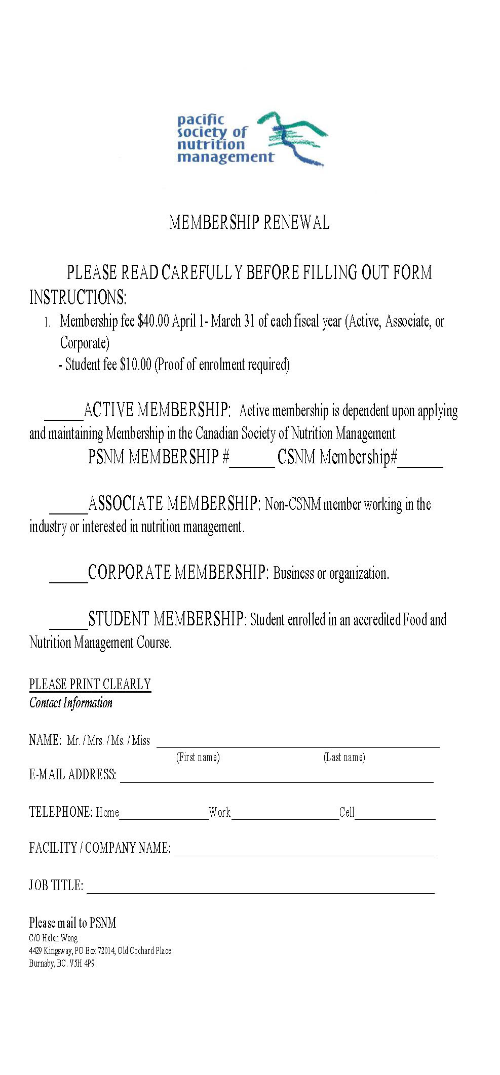 PSNM's original membership form