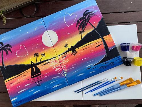 Night Landscape Double Canvas