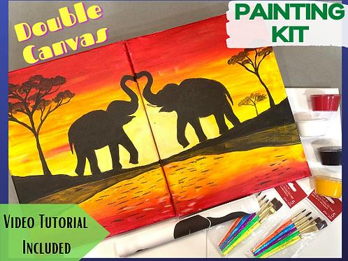 Painting Kit- Elephants, DOUBLE canvas