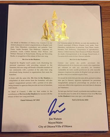 Mayor  (congratulatory letter)