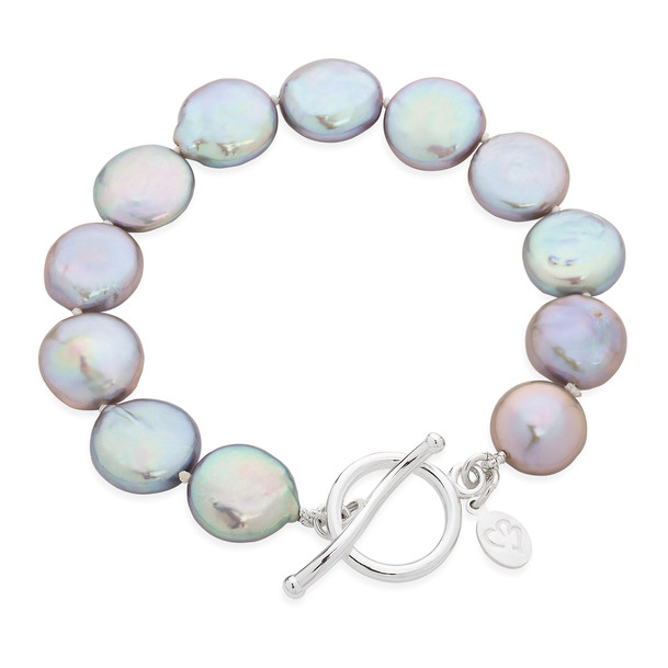 Bedruthan Silver Coin Pearl Bracelet  CBBL0050 £105 SOLD