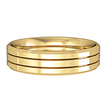 645C773 9ct Yellow Gold - 5mm Three stripes bevelled