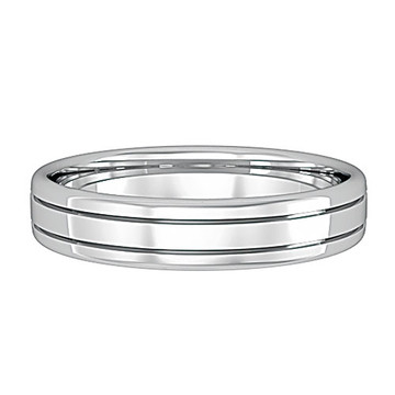 62561J01 9ct White Gold 4mm Bombe Court Striped Band