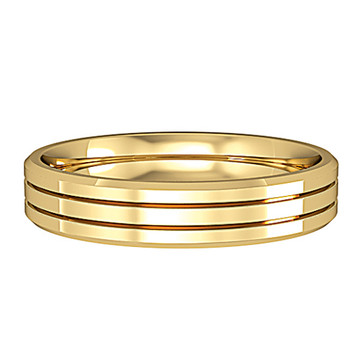 644C773 9ct 4mm Yellow Gold -  Three stripes bevelled