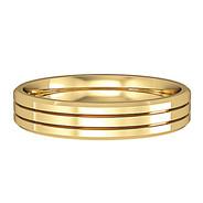 644C773 9ct 4mm Yellow Gold -  Three stripes bevelled