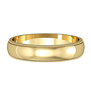62427A01 9ct 4mm Yellow Gold - Mill Grain edges