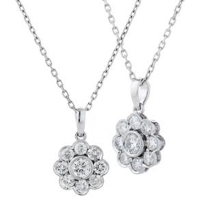 18ct White Gold Diamond Flower Pendant