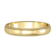 62426A01 9ct 3mm Yellow Gold - Mill Grain edges