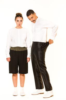 Bluse und Hemd kragenlos / Hosenrock mit Strickbund / Jogginghose