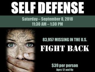 Women's Monthly Self Defense Class - Sept 8