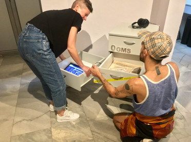 Setting up of the exhibition 'Others', The Fridge, Ogms, Sofia City Art Gallery, Sofia, Bulgaria, 2018.