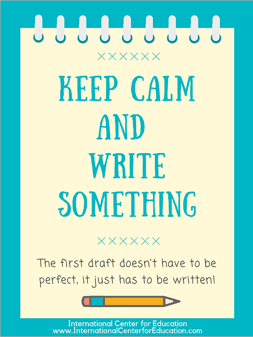 Keep Calm Write On Poster 11x17