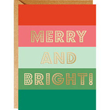 Merry and Bright Gold Foil A6 Cards 10-pack