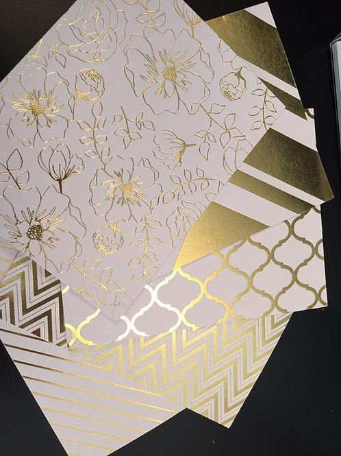 5 Pack Gold Foil Notecards-Floral