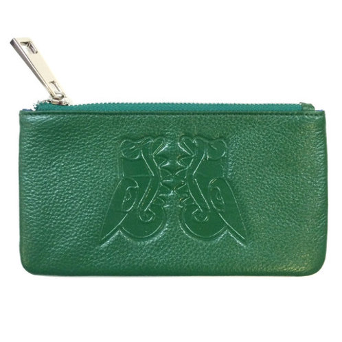 Green Zip-Up Leather Pouch by Christopher Straub