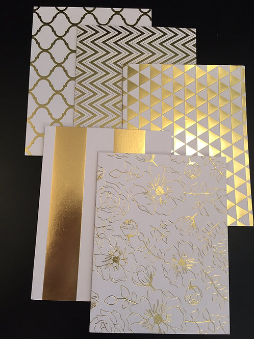 5 Pack Gold Foil Notecards-Chevron