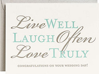 Live Well Laugh Often Letterpress A2 Single Card