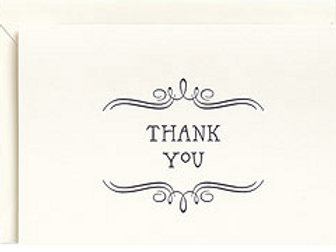 8 pack Vintage Letter Press Thank You notecards