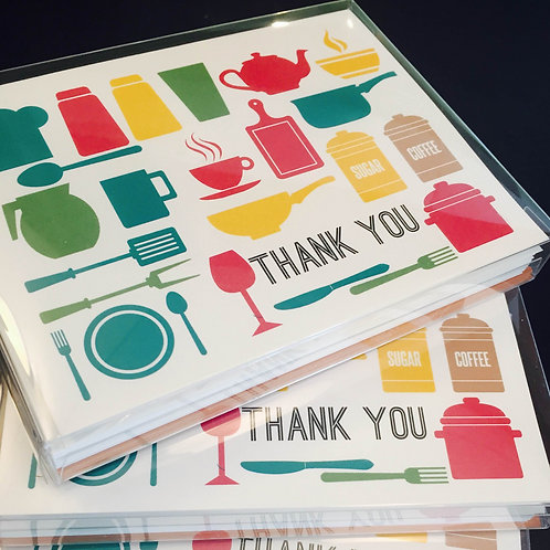 10 Pack Kitchen Theme Thank You Cards