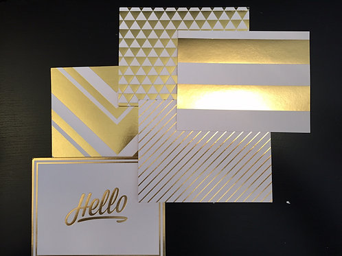 5 Pack Gold Foil Notecards-Stripes