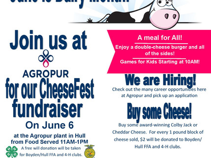 Cheese Fest June 6th at Agropur in Hull
