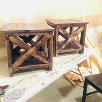 Hand made side tables, stained with all natural, hand mixed organic stain.