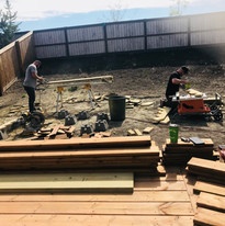 mid-construction of a tiered new deck add on