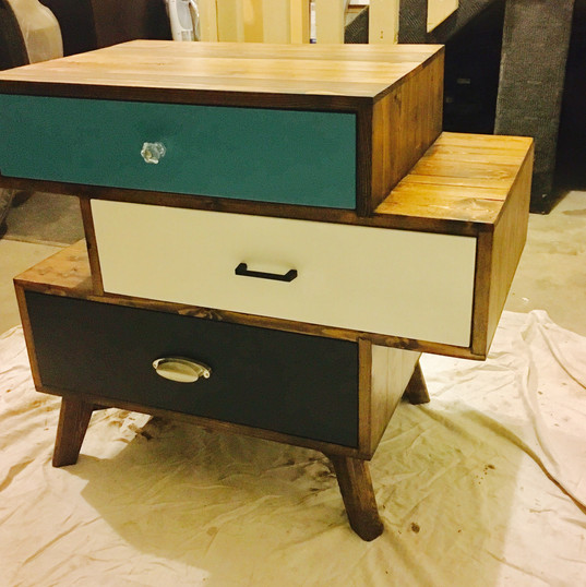 Unique mad hatter custom designed side table unit