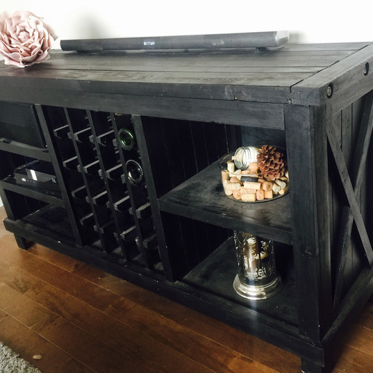Handsome wine rack and TV stand, hand made and stained with organic stain.
